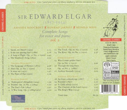 Elgar: Complete Songs for Voice & Piano, Vol. 2
