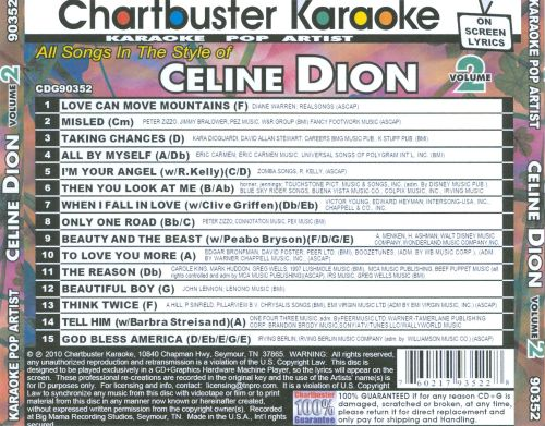Chartbuster Karaoke: All Songs In the Style of Celine Dion Volume 2