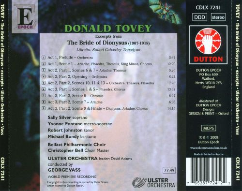 Donald Tovey: The Bride of Dionysus