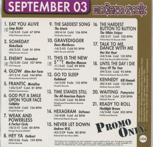 Promo Only: Modern Rock Radio (September 2003)