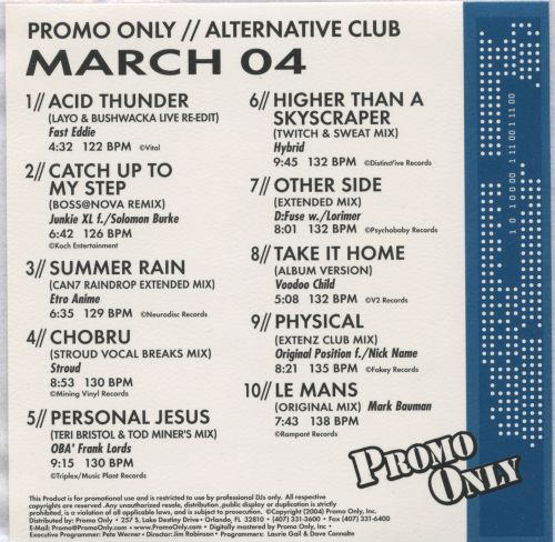 Promo Only: Alternative Club (March 2004)