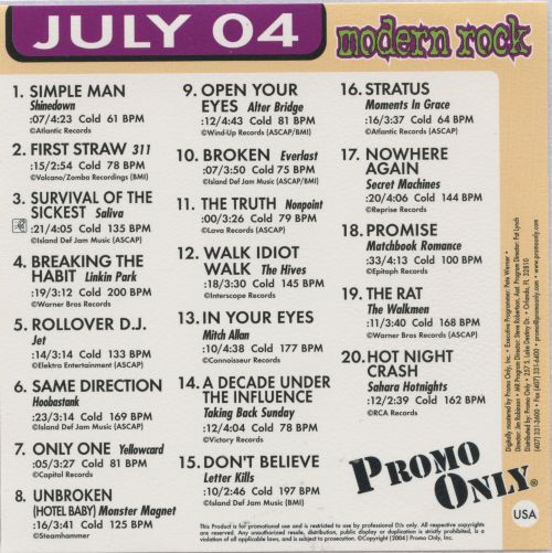 Promo Only: Modern Rock Radio (July 2004)