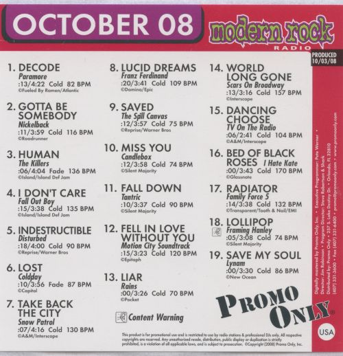Promo Only: Modern Rock Radio (October 2008)