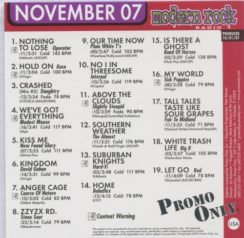 Promo Only: Modern Rock Radio (November 2007)