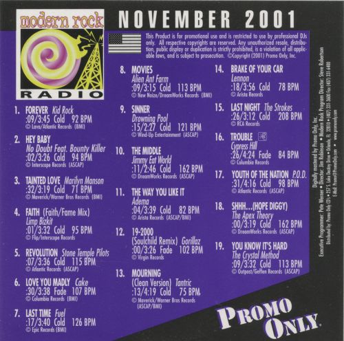 Promo Only: Modern Rock Radio (November 2001)