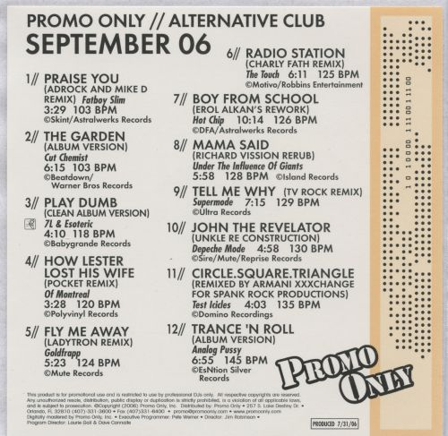 Promo Only: Alternative Club (September 2006)