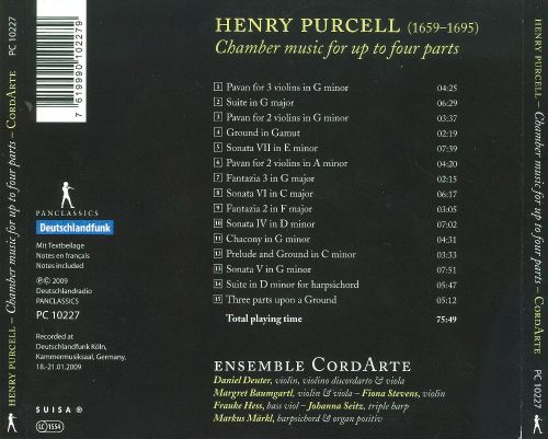 Henry Purcell: Chamber Music for Up to Four Parts