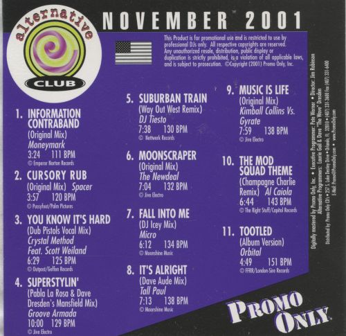 Promo Only: Alternative Club (November 2001)