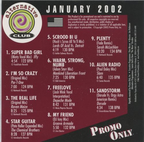 Promo Only: Alternative Club (January 2002)