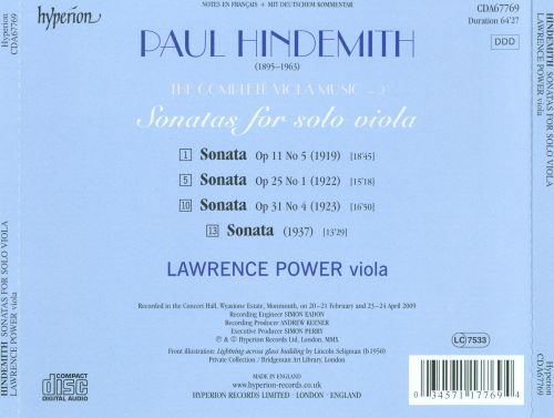 The Complete Hindemith Viola Music, Vol. 2