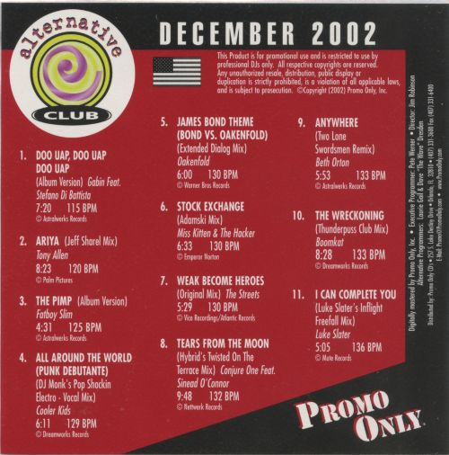 Promo Only: Alternative Club (December 2002)