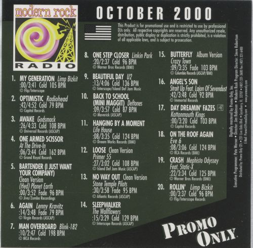 Promo Only: Modern Rock Radio (October 2000)
