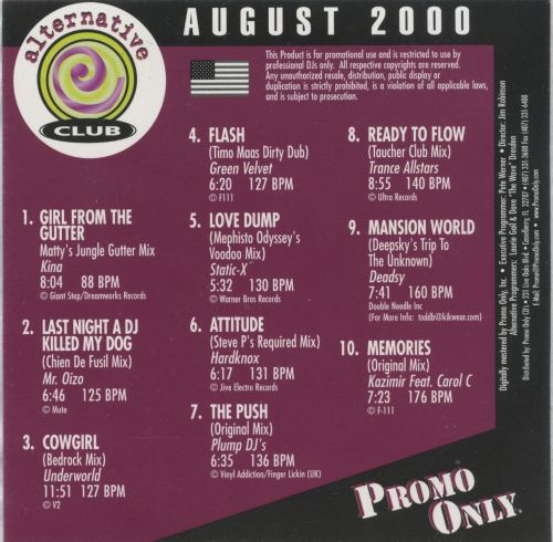 Promo Only: Alternative Club (August 2000)