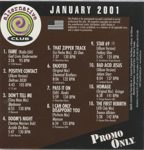 Promo Only: Alternative Club (January 2001)