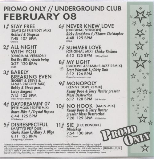 Promo Only: Underground Club (February 2008)