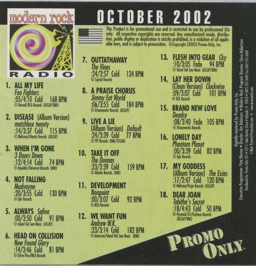 Promo Only: Modern Rock Radio (October 2002)