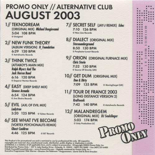 Promo Only: Alternative Club (August 2003)
