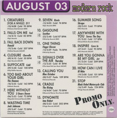Promo Only: Modern Rock Radio (August 2003)