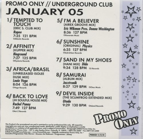 Promo Only: Underground Club (January 2005)