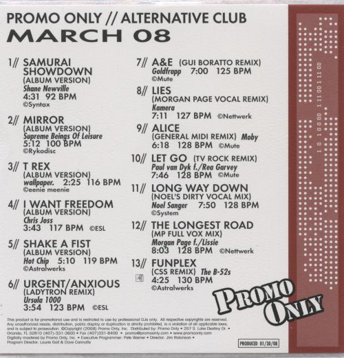Promo Only: Alternative Club (March 2008)
