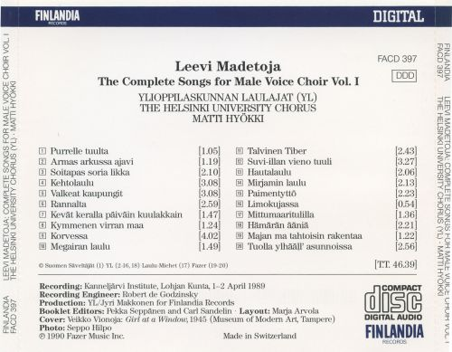 Leevi Madetoja: The Complete Songs for Male Voice Choir, Vol. 1