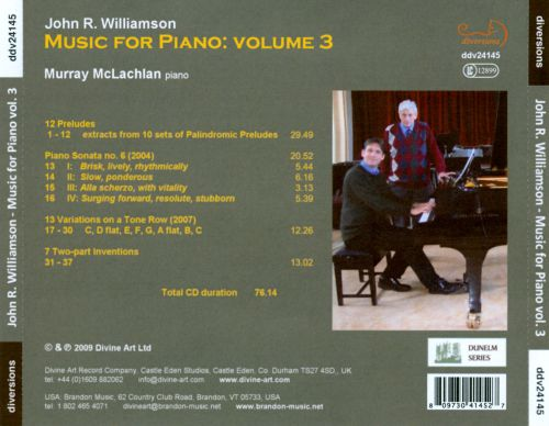 John R. Williamson: Music for Piano, Vol. 3
