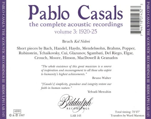 Pablo Casals: The Complete Acoustic Recordings Vol. 3: 1920 - 25