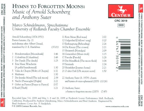 Hymns to Forgotten Moons: Music of Arnold Schoenberg and Anthony Suter