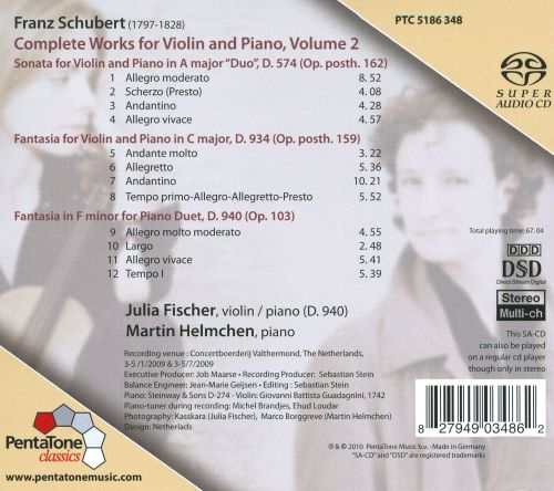 Franz Schubert: Complete Works for Violin & Piano, Vol. 2