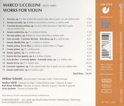 Marco Uccellini: Works for Violin