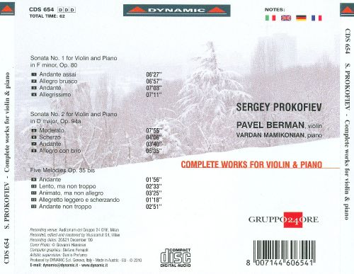 Prokofiev: Complete Works for Violin & Piano