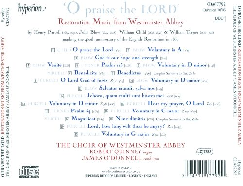 O Praise the Lord: Restoration Music from Westminster Abbey