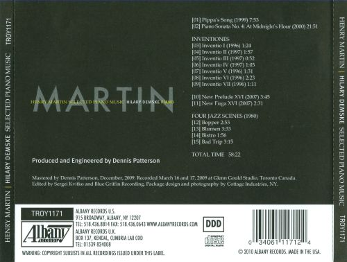 Henry Martin: Selected Piano Music