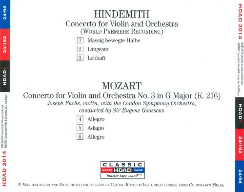 Hindemith: Concerto for Violin and Orchestra; Mozart: Concerto No. 3 for Violin and Orchestra