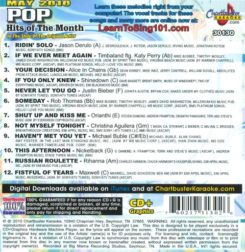 Chartbuster Karaoke: Pop Hits Of The Month May 2010