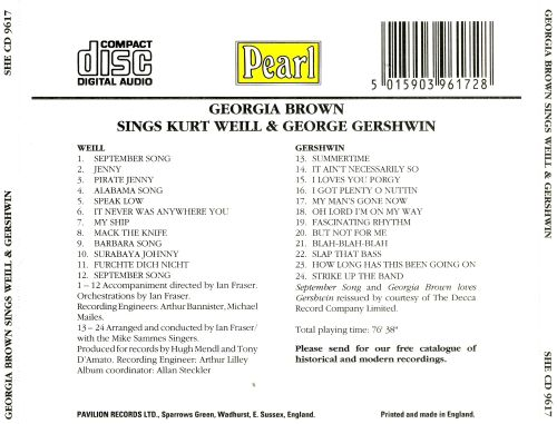 Georgia Brown sings Kurt Weill & George Gershwin