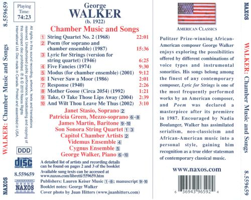 George Walker: Chamber Music and Songs