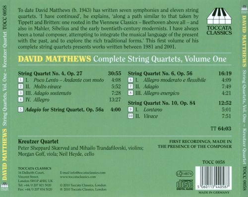 David Matthews: Complete String Quartets Vol. 1