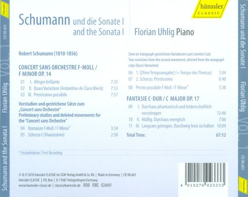 Schumann and the Sonata, Vol. 1