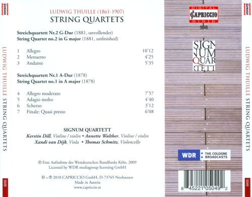 Ludwig Thuille: String Quartets