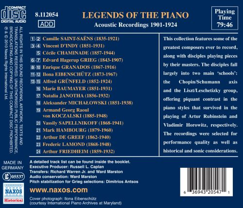 Legends of the Piano: Acoustic Recordings 1901-1924