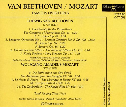 Beethoven, Mozart: Famous Overtures