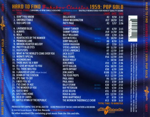 Hard to Find Jukebox Classics 1959: Pop Gold