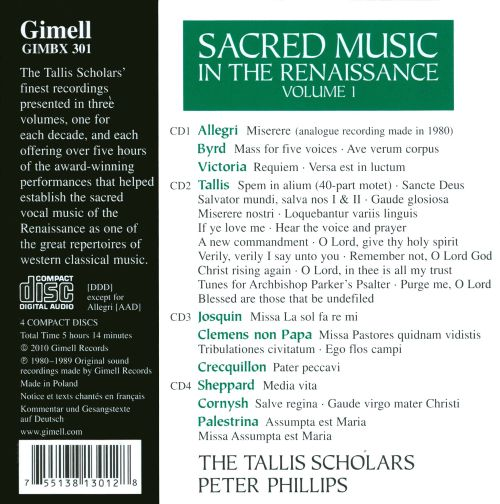 Sacred Music in the Renaissance, Vol. 1