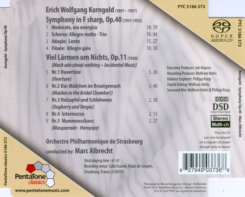 Korngold: Symphony in F sharp, Op. 40; Much Ado About Nothing, Op. 11