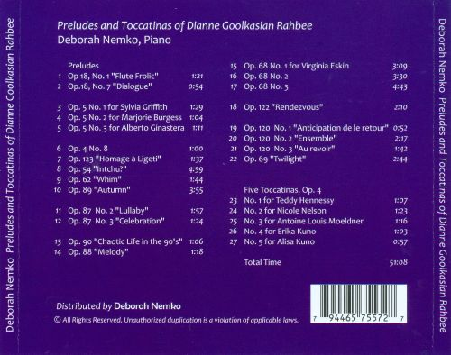 Piano Preludes and Toccatinas of Dianne Goolkasian Rahbee