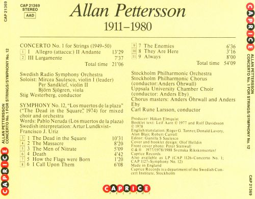 Allan Pettersson: Concerto No. 1 for Strings; Symphony No. 12