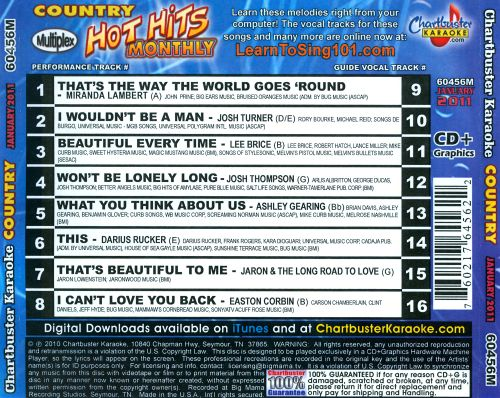 Chartbuster Karaoke: Country Hot Hits Monthly, January 2011