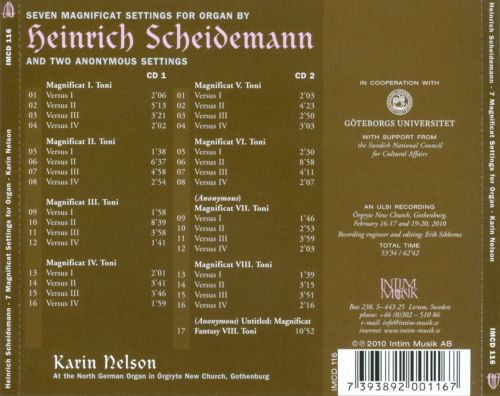 Seven Magnificat Settings for Organ by Heinrich Scheidemann and Two Anonymous Settings