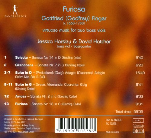 Furiosa: Virtuoso Music for Two Bass Viols by Gottfried Finger
